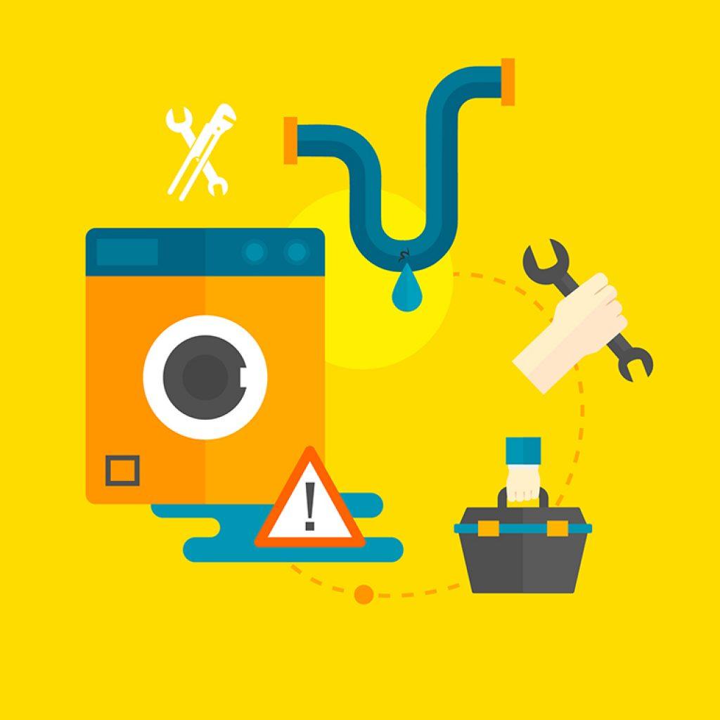Desenho de uma máquina de lavar roupa, um cano vazando e uma mão segurando uma ferramenta.