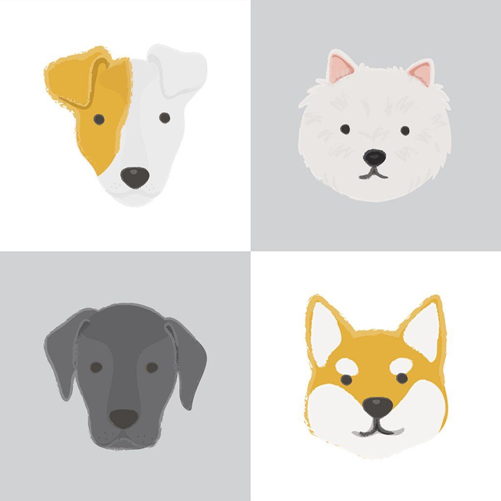 Figura mostra desenhos de 4 cachorros de raças diferentes.
