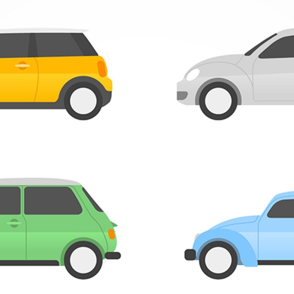 Ilustração de 4 carros, sendo que não estão inteiros.. São quatro carros, pela metade.