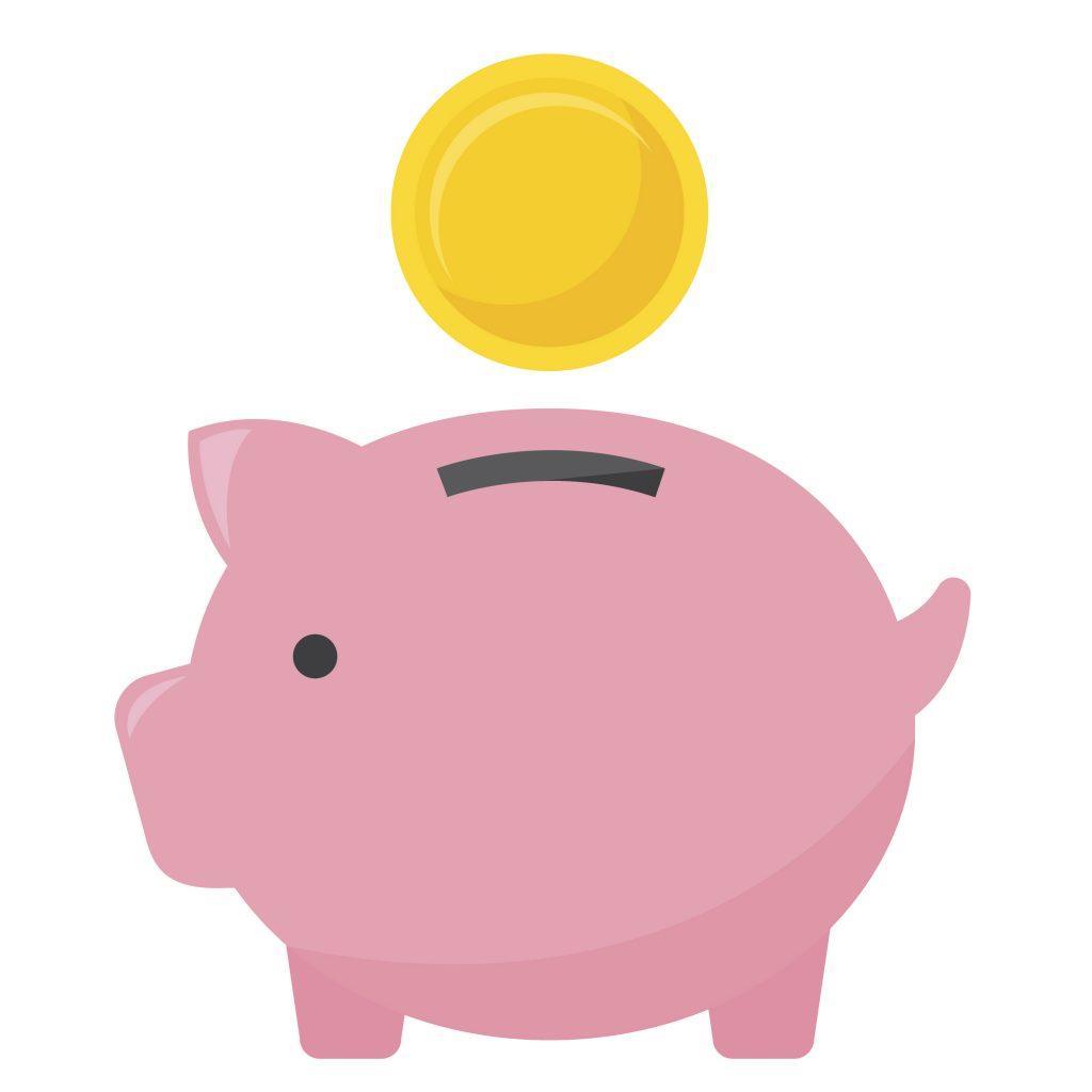 Um desenho de um cofrinho em formato de porco, na cor rosa, com uma moeda sendo colocada.
